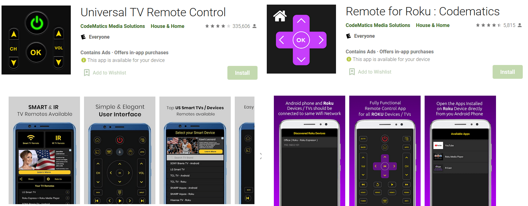 Exposed universal TV remote control apps<br>