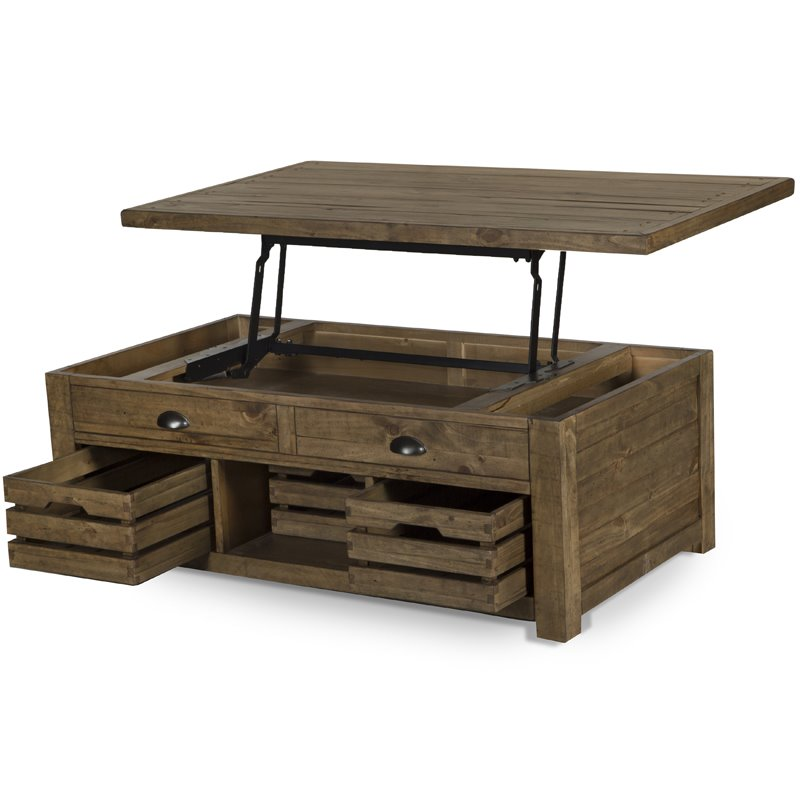magnussen stratton rustic lift top storage coffee table with casters