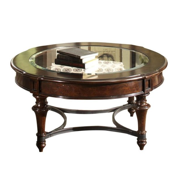 liberty furniture kingston round glass top coffee table in cognac