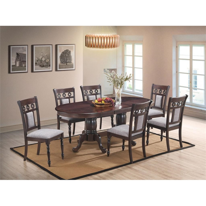 cosmos furniture lakewood traditional dining table in espresso finish wood
