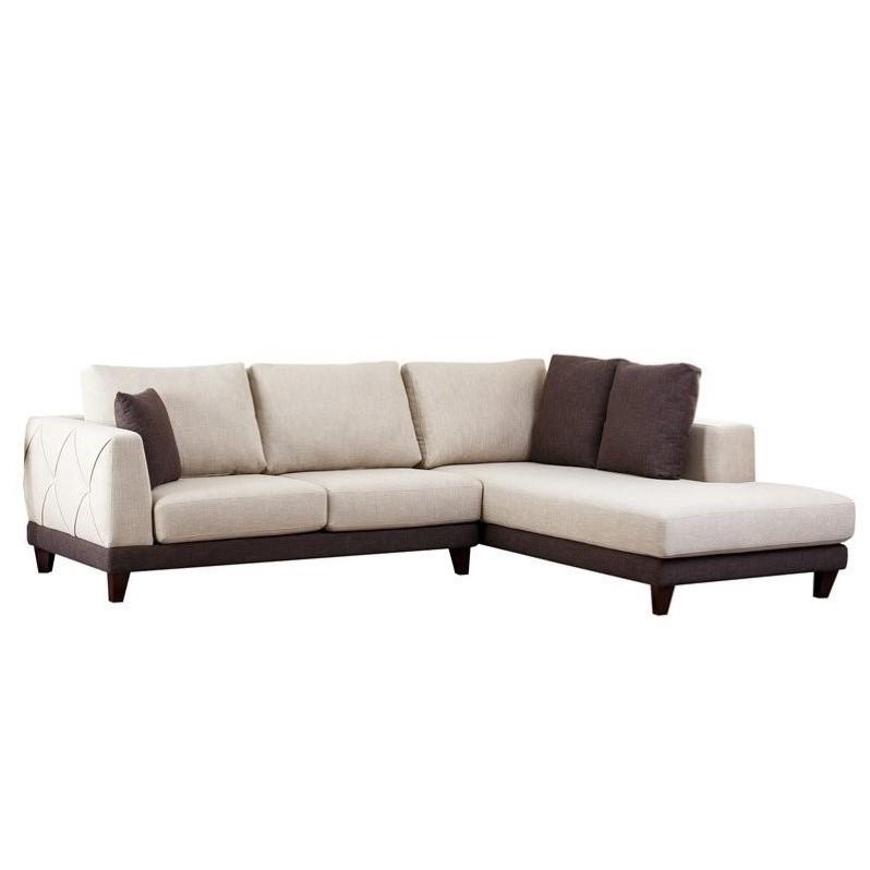 Abbyson Living Juliette Fabric Sectional Sofa In Cream Rl 1312 Crm