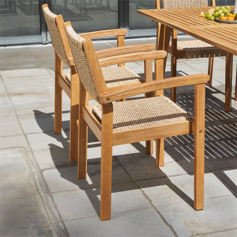 vifah chesapeake solid wood patio dining chair in golden oak set of 2