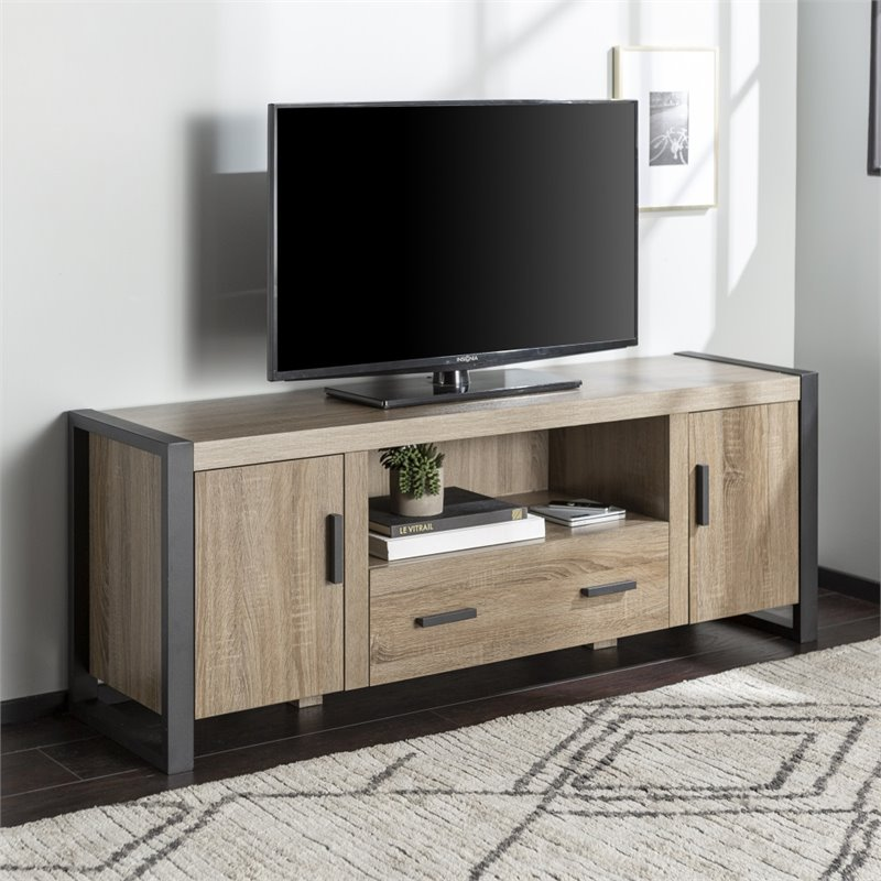 Walker Edison 60 Urban Blend TV Stand In Ash Grey And