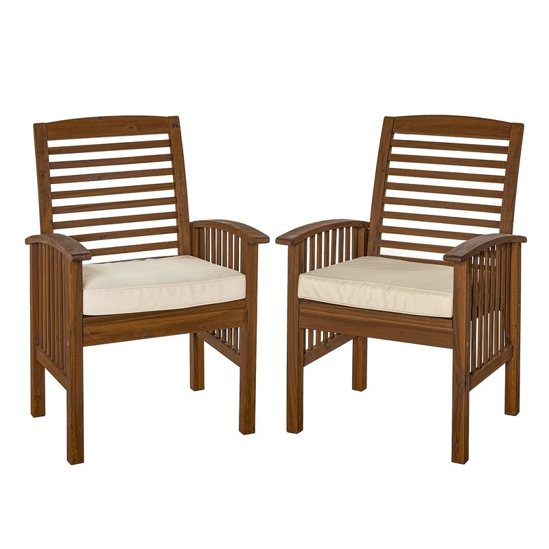 acacia wood patio chairs with cushions in dark brown set of 2