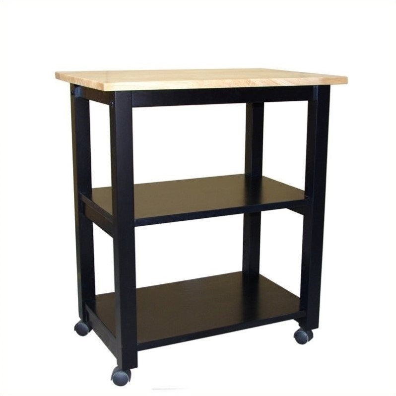 international concepts microwave cart in black natural