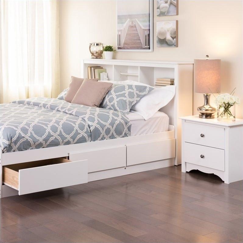 prepac monterey full queen bookcase headboard in white
