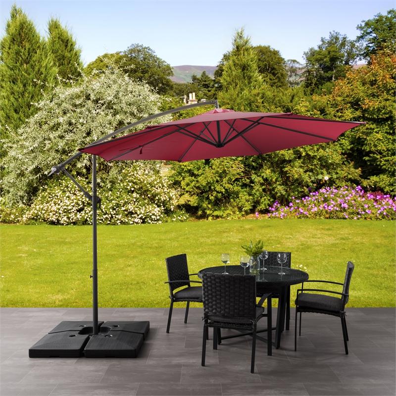 corliving 9 5ft wine red uv resistant offset tilting fabric patio umbrella
