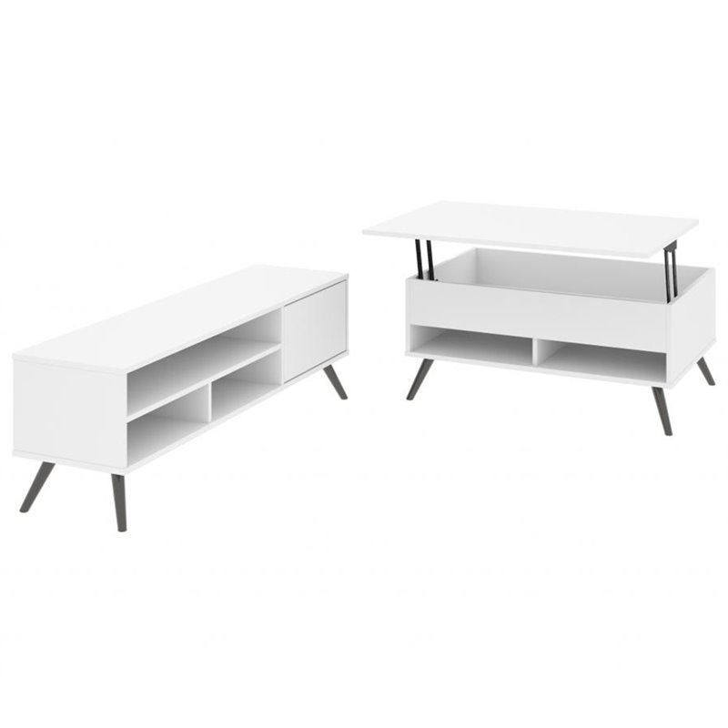 bestar small space krom 2 piece lift top coffee table set in white