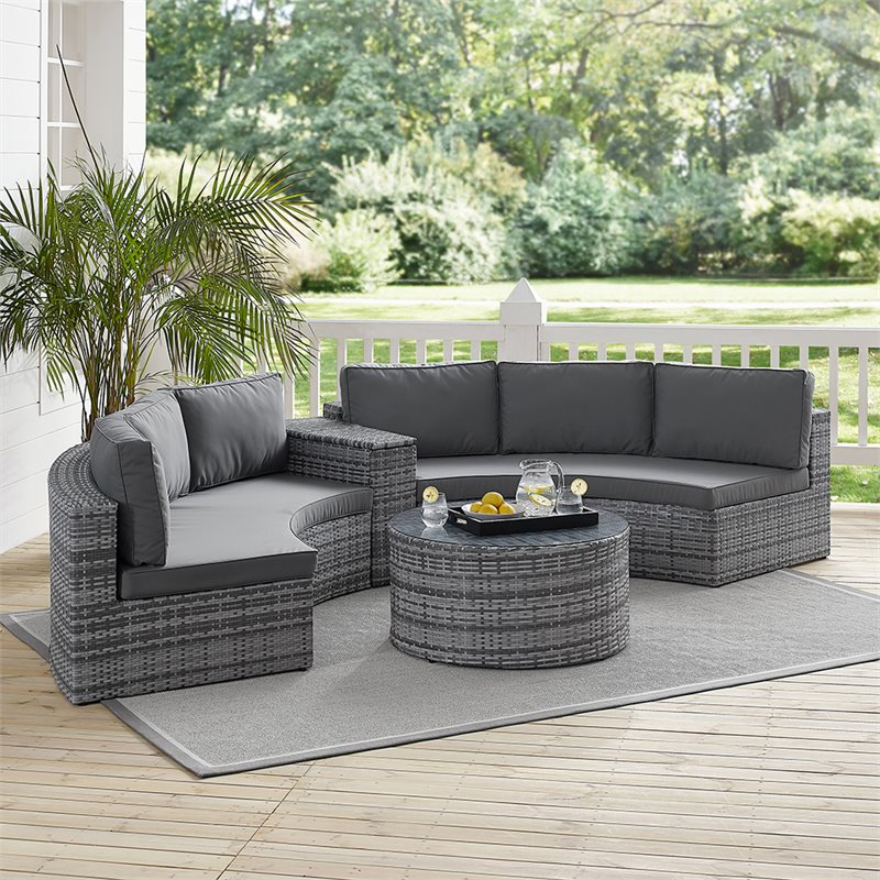 crosley catalina 4 piece wicker curved patio sectional set in gray