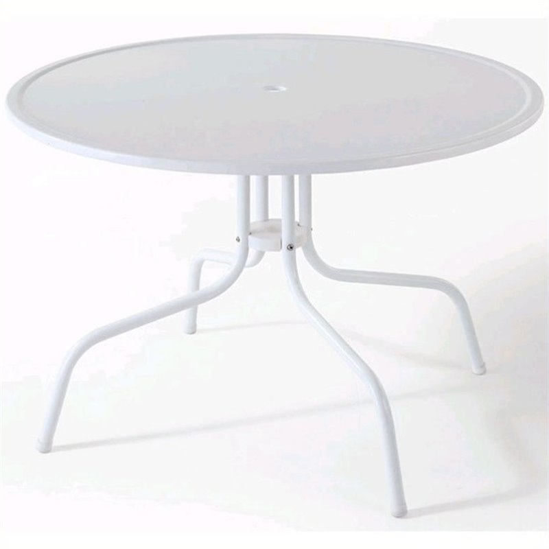 crosley griffith metal 39 round patio dining table in white