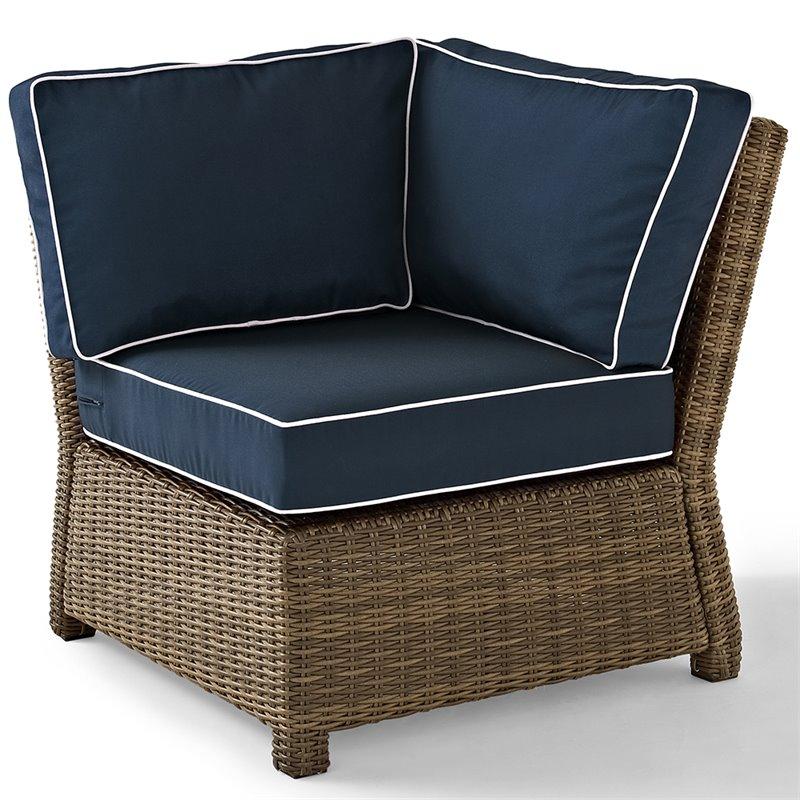 crosley bradenton wicker corner patio chair in brown and navy