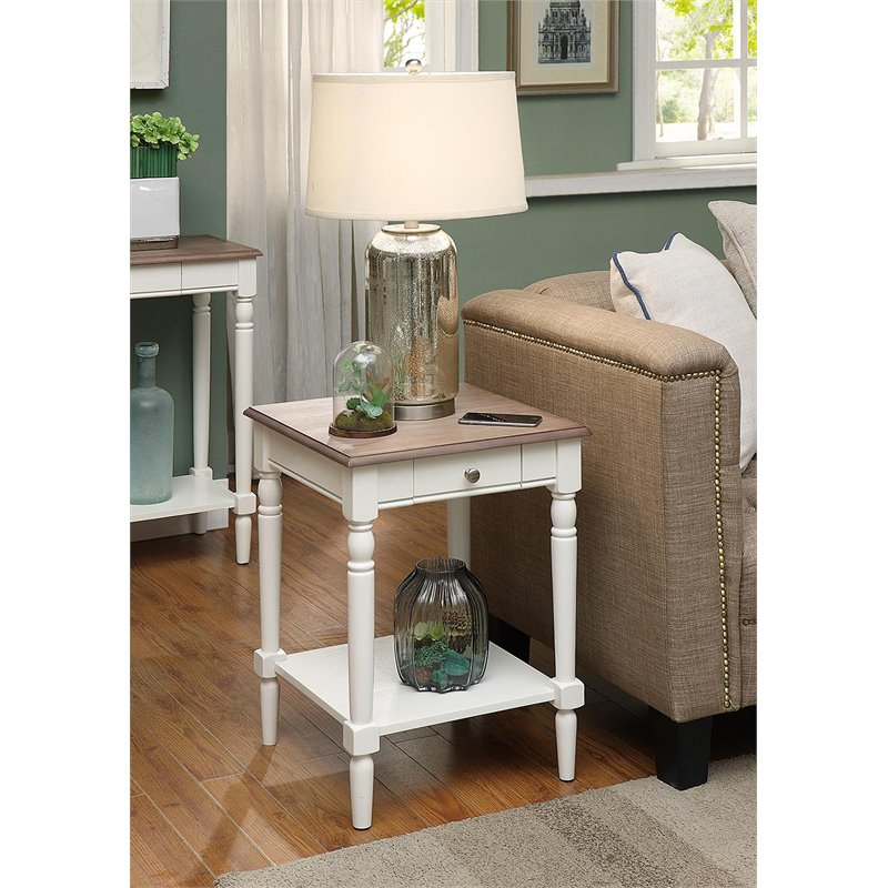 french country end table with drawer and shelf in driftwood and white wood