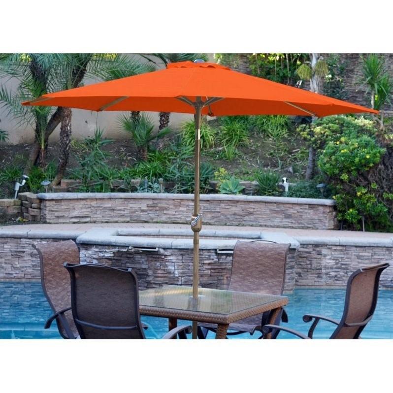 jeco 9 aluminum market patio umbrella with crank in orange