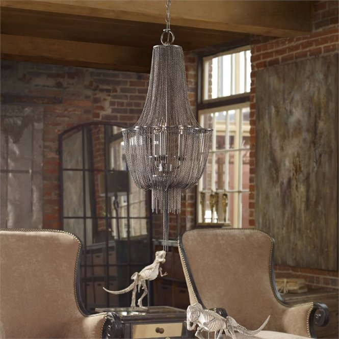 Uttermost Lezzeno 3 D Jewelry Chain Chandelier In Dark Bronze