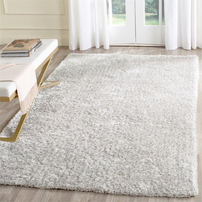 safavieh toronto shag 8 x 10 handmade polyester rug in light gray