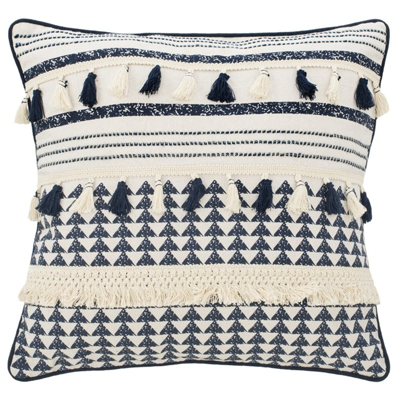 safavieh enya 16 x 16 throw pillow in navy and cream
