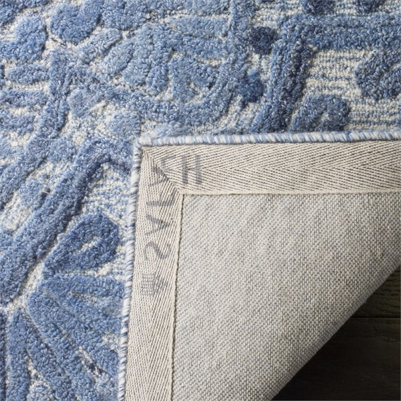 safavieh marquee 6 square hand tufted wool rug in blue and ivory