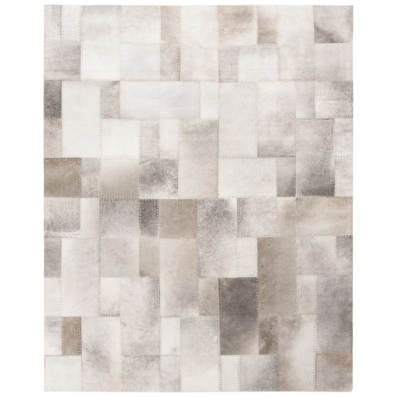 safavieh studio 8 x 10 hand woven leather rug in gray and white