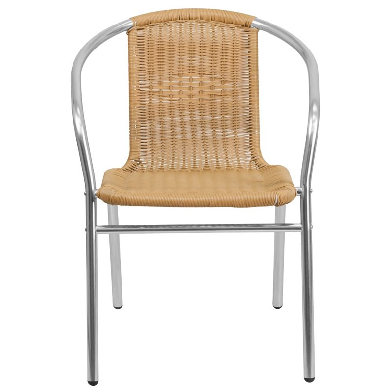 flash furniture aluminum and rattan stacking patio chair in beige