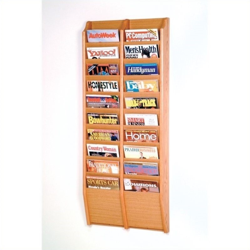 wooden mallet 20 pocket wall mount magazine rack in light oak