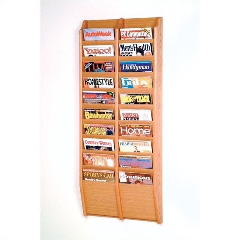 Wooden Mallet 20 Pocket Wall Mount Magazine Rack In Light Oak Mr48 20lo