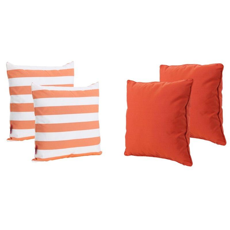 noble house coronado outdoor 4 piece water resistant throw pillow set in orange