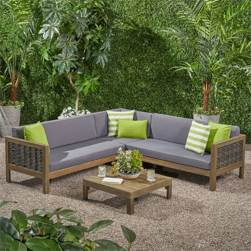 noble house linwood 4 piece outdoor wood and wicker sectional sofa set in gray