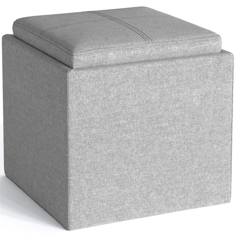 simpli home rockwood square linen fabric storage ottoman with tray in cloud gray
