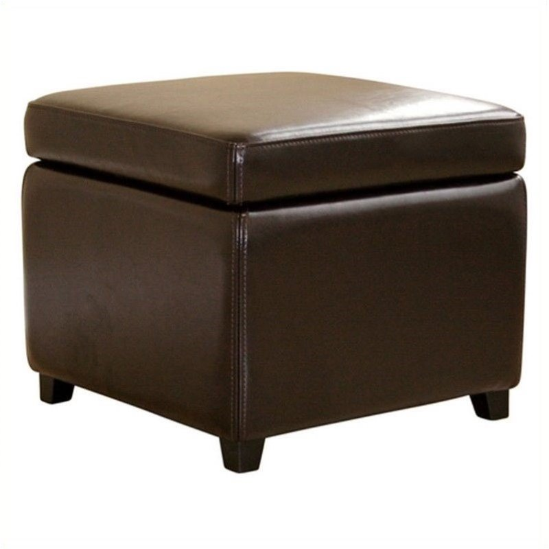 small storage cube ottoman in dark brown