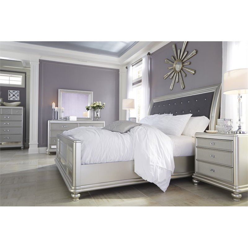 Ashley Coralyne Queen Upholstered Bed In Silver B650 54