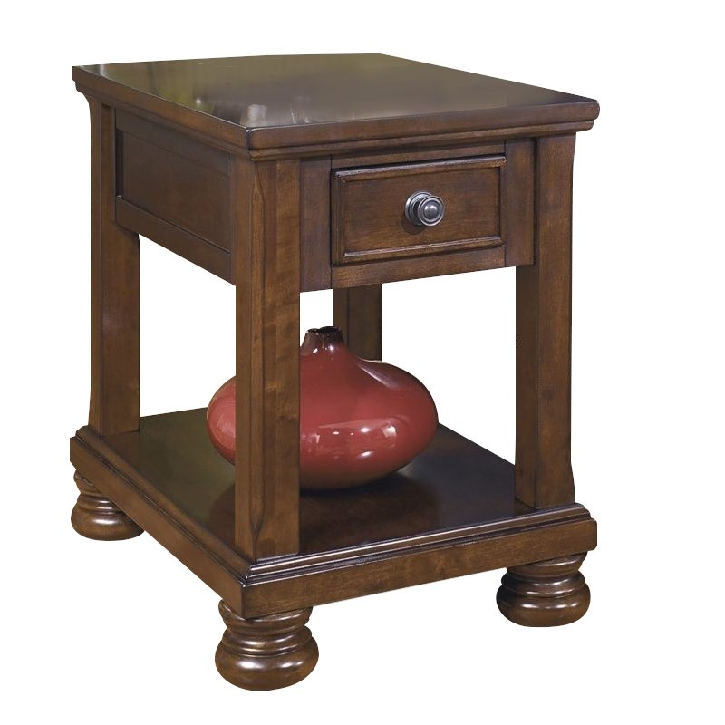 ashley furniture porter 1 drawer end table in rustic brown