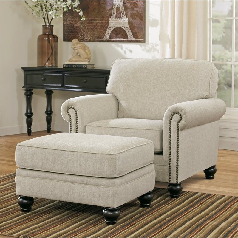 signature design by ashley furniture milari accent chair with ottoman in linen 13000 20 14 pkg