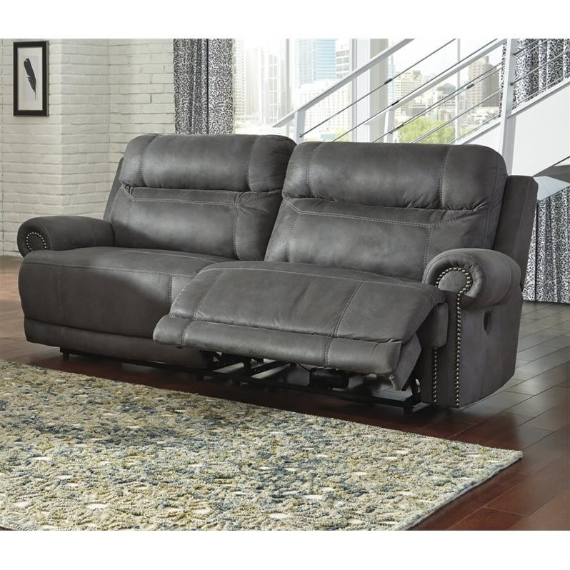 ashley austere 2 seat faux leather reclining power sofa in gray 3840147