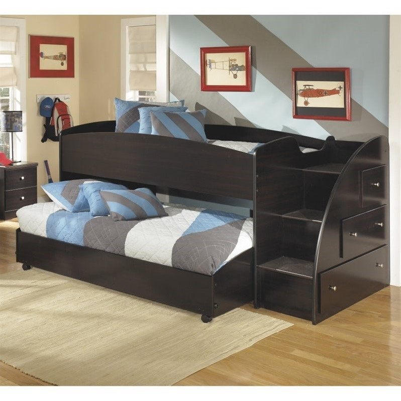 Ashley Embrace Wood Twin Right Lower And Upper Loft Bed In Merlot B239 13R 68TB PKG