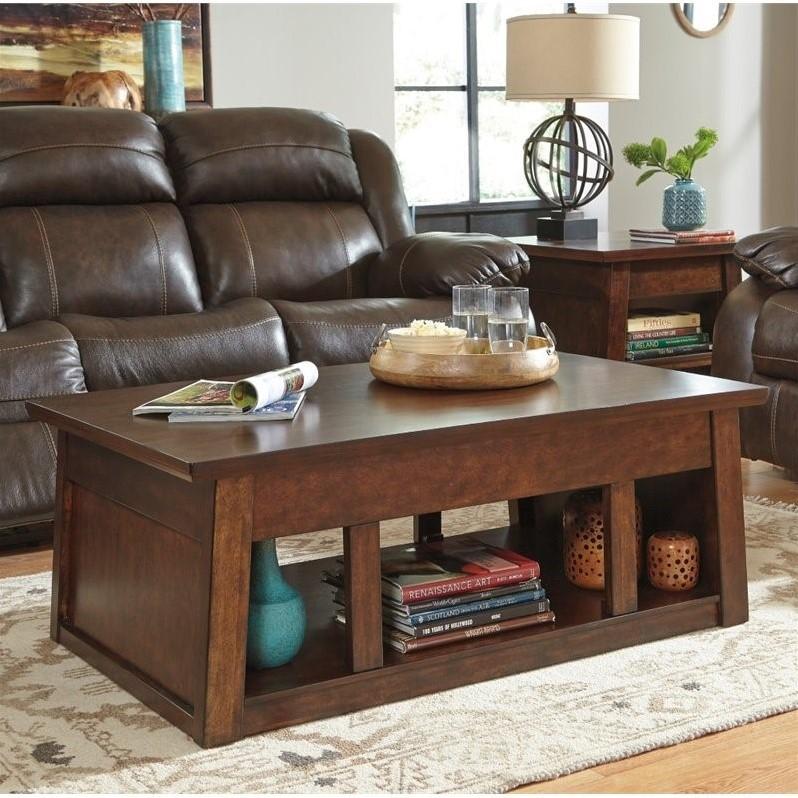 Ashley Harpan Lift Top Coffee Table In Reddish Brown T797 9