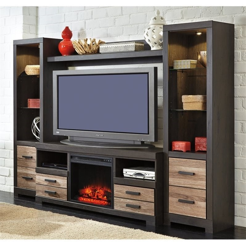 Ashley Harlinton Entertainment Center With LED Fireplace