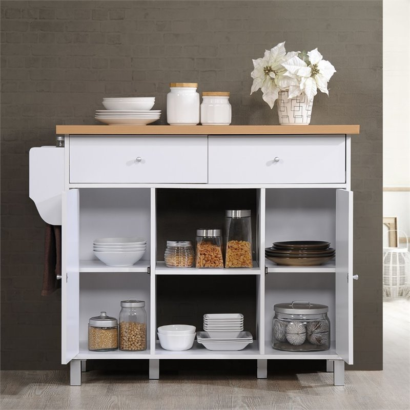 hodedah kitchen island with spice rack plus towel holder in white wood