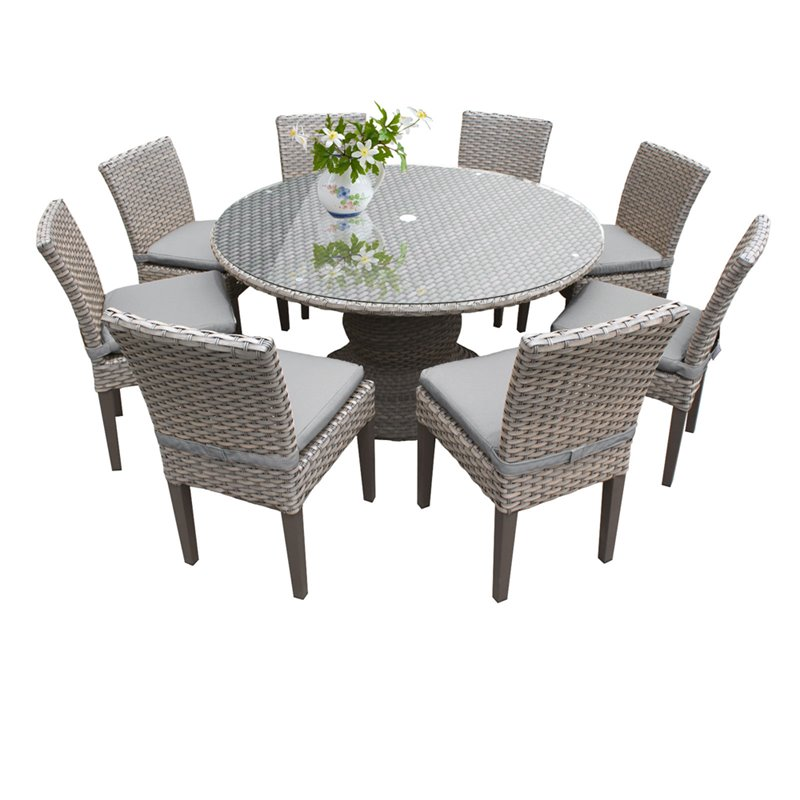 tk classics oasis 9 piece 60 round glass top patio dining set with cushions