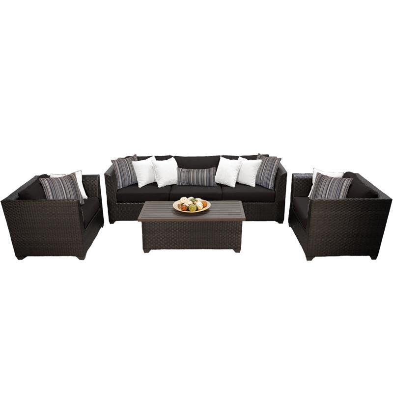 barbados 6 piece outdoor wicker patio furniture set 06g in black