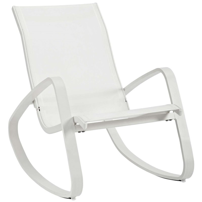 modway traveler mesh patio rocking chair in white set of 2