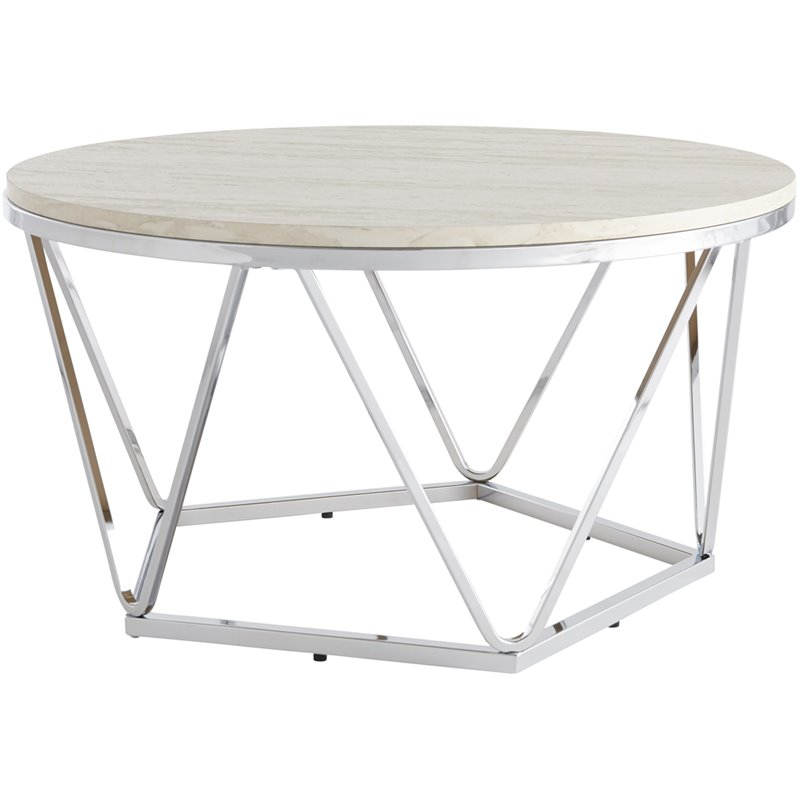 southern enterprises luna 33 round faux stone top coffee table in silver