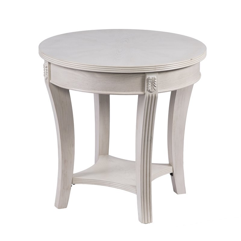 southern enterprises laverley shabby chic round end table in whitewash