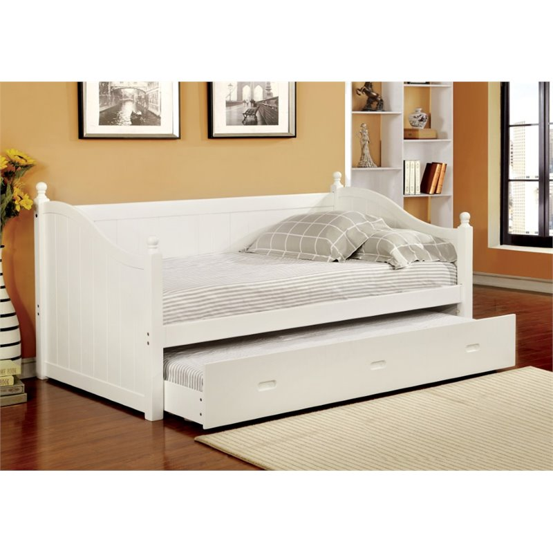 Furniture Of America Emerson Twin Daybed With Trundle In White IDF 1928WH