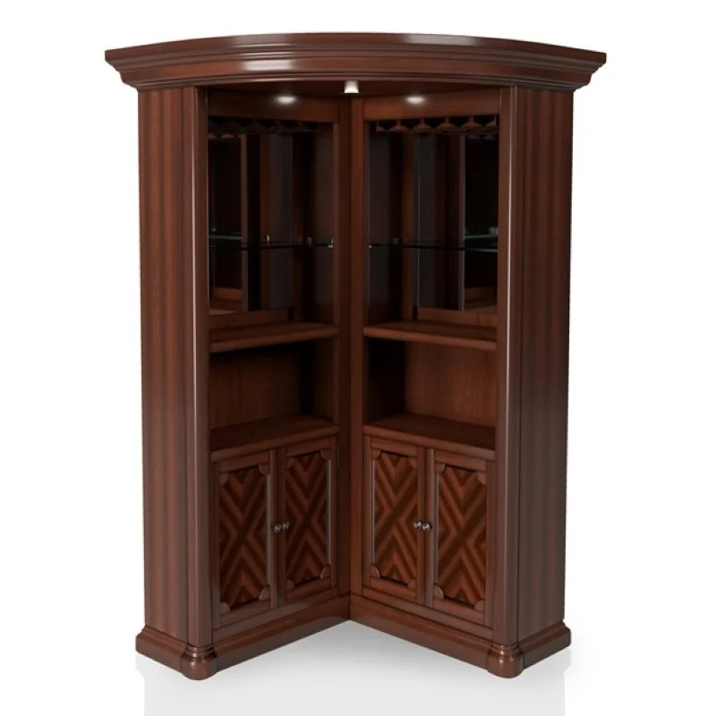 Furniture Of America Myron Traditional Corner Home Bar In
