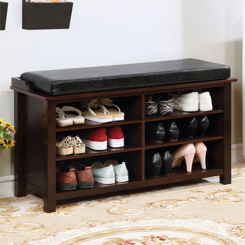 furniture of america jax transitional wood shoe storage bench in brown cherry