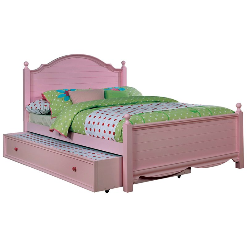 Furniture Of America Poppy 2 Piece Pink Wood Panel Kids Twin Bed With Trundle Idf T7159pk Tr