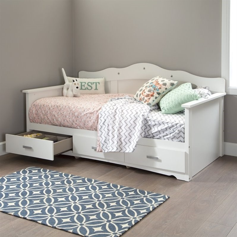 South Shore Sabrina Wood Twin Storage Daybed In White 10003
