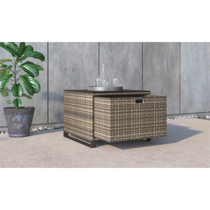 tommy hilfiger oceanside outdoor side table with storage in brown