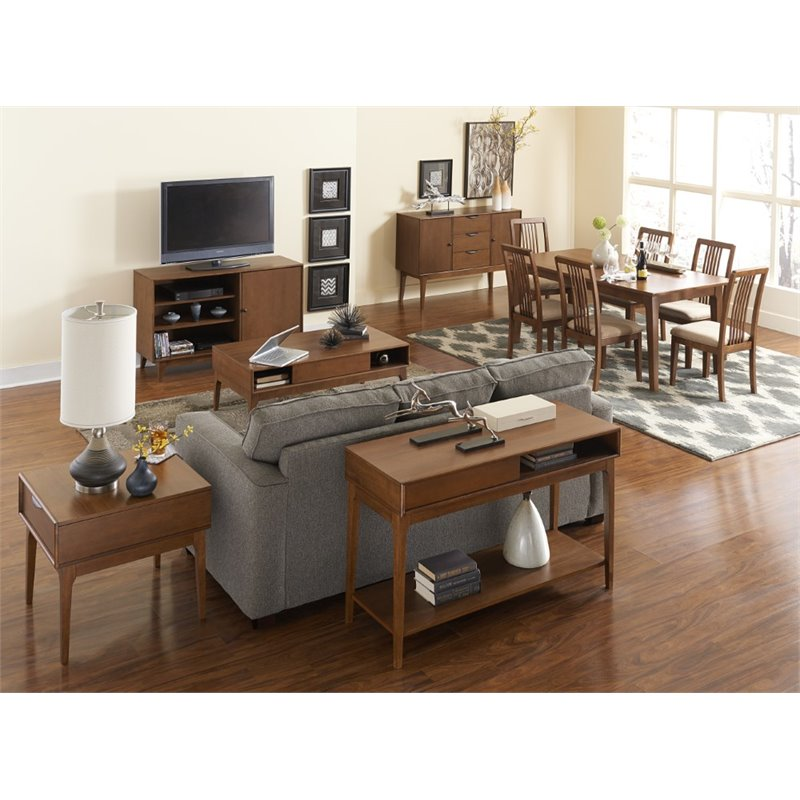 progressive mid mod coffee table in cinnamon