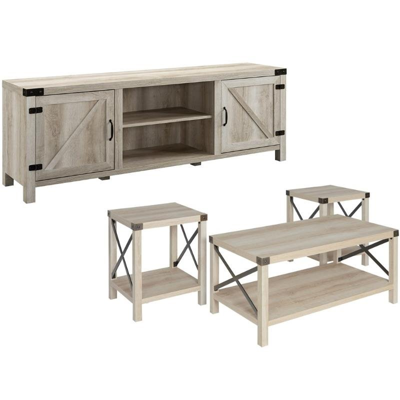 4 piece barn door tv stand coffee table and 2 end table set in rustic white oak